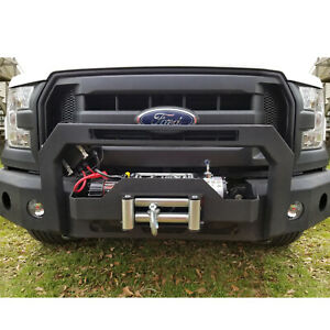 Heavy Duty Front Bumper Hood Winch Plate For Ford F150 2016 2018 Texture Black