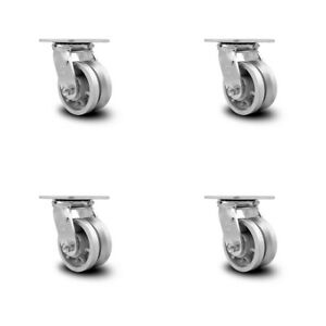 Scc 4 X 2 V Groove Semi Steel Wheel Swivel Casters Set Of 4