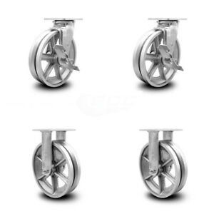 Scc 8 X 2 V Groove Semi Steel Wheels Caster Set 4 2 Swivel W brakes 2 Rigid