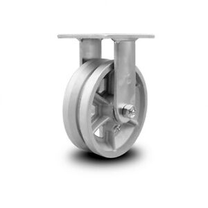6 Inch V Groove Semi Steel Wheel Rigid Caster With Roller Bearing Service Caster