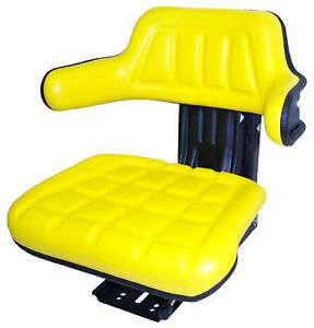 Yellow Vinyl Suspension Seat For Mini Excavators Rt Forklifts Compact Tractors