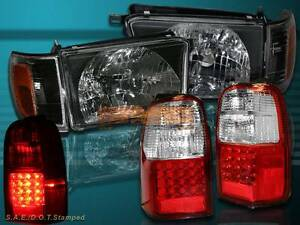 1996 1997 1998 Toyota 4runner Black Headlights Corner Led Tail Lights Red