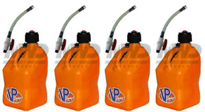 4 Pack Vp Racing Orange 5 Gallon Square Fuel Jug 4 Shut Off Hoses water gas Can