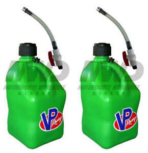 2 Pack Vp Racing Green 5 Gallon Square Fuel Jug 2 Shut Off Hoses water gas Can