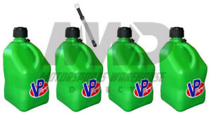 4 Pack Vp Racing Green 5 Gallon Square Fuel Jugs 1 Deluxe Hose water gas Can