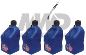 4 Pack Vp Racing Blue 5 Gallon Square Fuel Jugs 1 Deluxe Hose water gas Can