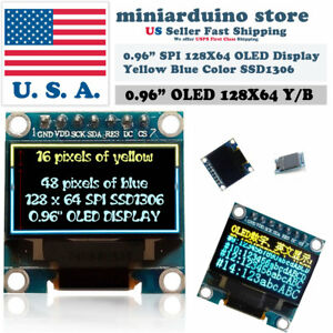 0 96 Spi 128x64 Led Oled Lcd Yellow Blue Color Display Arduino Ssd1306 7 Pin