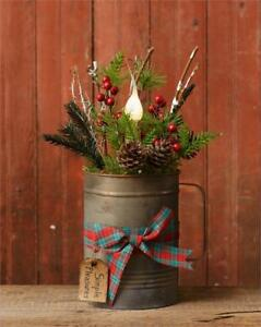 New Primitive Rustic Christmas Arrangement Candle Light Lamp Pine Centerpiece