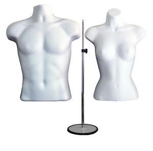 2 Mannequins 1 Stand 2 Hangers Male Female White Form Display s Shirt