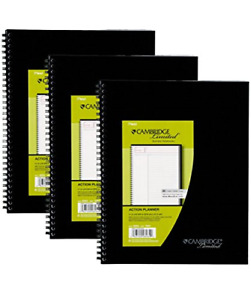 Mead Cambridge Business Planner Notebooks Black 3 pack 73597