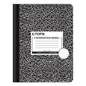 Tops Composition Book 9 3 4 X 7 1 2 Graph Rule Black Marble Cover 80 Box
