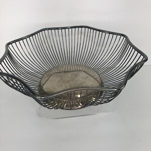 Unbranded Silver Tone Bread Basket Wire Side Home Decor Petina 10