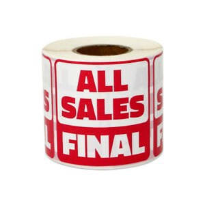 All Sales Final Stickers Retail Clearance Promotion Store Labels 2 x2 10pk