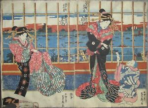 Sadahide Beauties By The River Japanese Woodblock Print 1830s