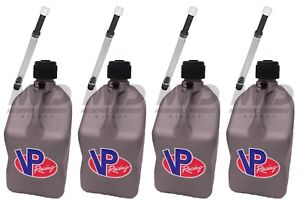 4 Pack Vp Racing Silver 5 Gallon Square Fuel Jug 4 Deluxe Hoses water gas Can