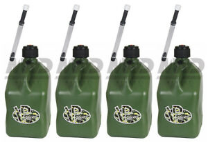 4 Pack Vp Racing Camo 5 Gallon Square Fuel Jug 4 Deluxe Hose water jerry Gas Can