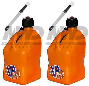 2 Pack Vp Racing Orange 5 Gallon Square Fuel Jug 2 Deluxe Hoses water gas Can