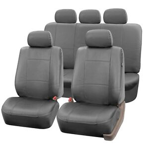 Pu Leather Seat Covers For Car Suv Van Full Universal Seat Covers Set Solid Gray