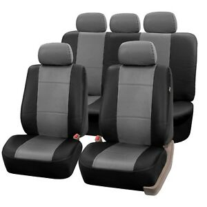 Pu Leather Seat Covers For Car Suv Van Full Universal Seat Covers Set Gray Black