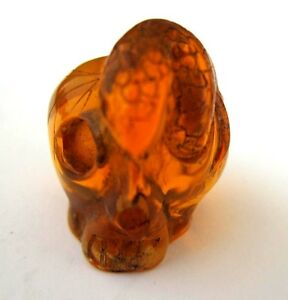 Japanese Amber Netsuke Snake Mouse Struggle On Deadly Skull Insect Inclusion