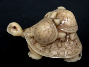 Japanese Ivory Colored Bone Netsuke Baby Turtles On Mother Turtle