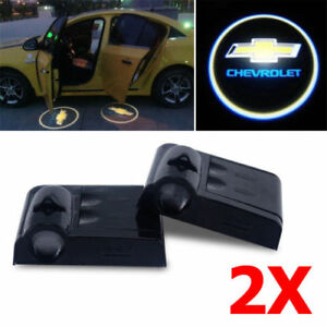 2x Chevrolet Car Door Welcome Led Lights Courtesy Projector Ghost Shadow Sticker