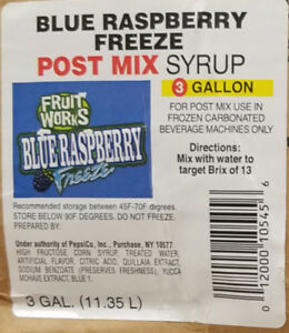 Blue Raspberry Freeze Syrup 3gal Box