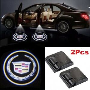 2x Cadillac Car Door Welcome Led Lights Courtesy Projector Ghost Shadow Sticker