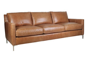 New Mid Century Modern Style Couch Sofa In Cognac Top Grain Leather Hand Made