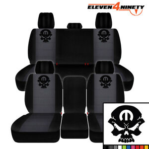 2011 2018 Dodge Ram 2500 Car Seat Covers Black Charcoal With M Skull Design