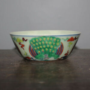 Chinese Old Marked Doucai Colored Peacock Pattern Porcelain Bowl