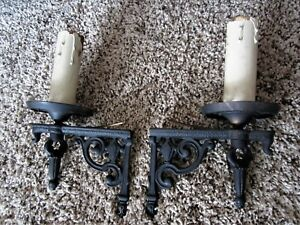 Pair Bronze Piano Bracket Lights Lamp Brass Victorian Wall Sconces Candle Holder