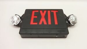 Nib Lithonia Lhqm S 3 R 120 277 Ho Black Led Exit Sign Combo 2 Emergency Light
