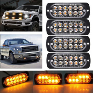 4x Amber 12 Led 36w Strobe Work Light Bar Hazard Beacon Flash Warning Emergency