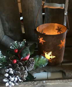 Primitive Farmhouse Christmas Snowflake Rusty Punch Tin Bucket Pail W Candle