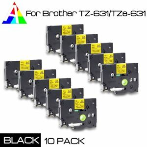 10x Tz 631 Label Maker Tape Black On Yellow For Brother Tze 631 P touch Us Stock