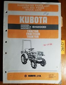 Kubota B4200d Tractor Illustrated Parts List Manual 07909 50381 11 87