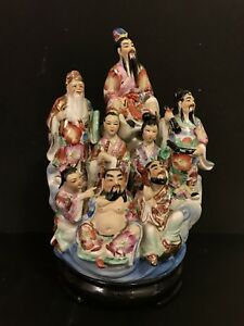 Rare Chinese Famille Rose Porcelain Figurine Immortal Gods 12