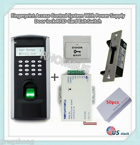 Fingerprint Access Control System With Power Supply Door Lock Exit Button u