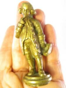 Antique Solid Brass Figural Lamp Finial Tricorn Hat Gentleman