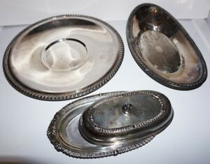 Silverplate Serving Sheridan Butter Dish With Lid Plus Two Serving Platters Tray