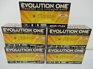 lot Of 5 Boxes Of 100 Microflex Evolution One Latex Glove Powder Free Sz Small