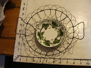 Antique Wire Egg Basket With Dish With Early Wedgewood Napoleon Ivy Dish