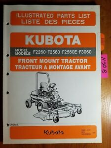 Kubota F2260 F2560 F2560e F3060 Front Mount Tractor Illust Parts List Manual 97