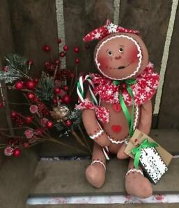 Primitive Handmade Little Gingerbread Doll Winter Christmas