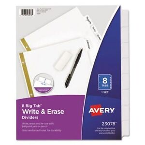 Avery 8 Big Tab Write And Erase Dividers 23078