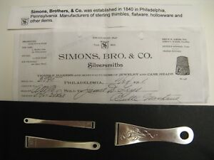 Antique Simons Bros Co Sterling Silver Bodkins Ribbon Threader Set