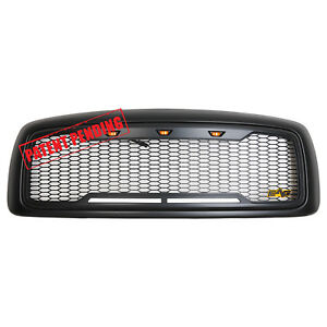 02 05 Dodge Ram 1500 2500 3500 Full Replacement Led Grille Honeycomb Grill Black
