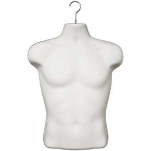 White Male T shirt Plastic Mannequin Torso With Metal Hanging Hook