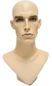 V neck Male Fleshtone Mannequin Head Form With Realistic Colored Features